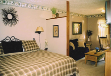 Interior of honeymoon cabin at In the Smokies Weddings in Pigeon Forge, Tennessee