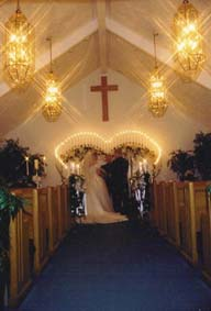 Interior of the Mountain Mist Wedding Chapel in Pigeon Forge, Tennessee